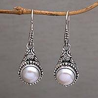 Cultured pearl dangle earrings, 'Heavenly Vines' - Handmade Cultured Pearl 925 Sterling Silver Dangle Earrings