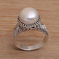 Cultured pearl cocktail ring, 'Moonlight Glyph' - Handmade 925 Sterling Silver Cultured Pearl Cocktail Ring
