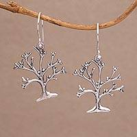 Sterling silver dangle earrings, 'Dainty Bark' - Tree-Shaped Sterling Silver Dangle Earrings from Bali