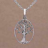 Sterling silver pendant necklace, 'Leafless Tree' - Oval Tree Sterling Silver Pendant Necklace from Bali