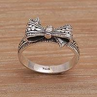 Sterling silver cocktail ring, 'Celuk Bow' - Balinese Handmade 925 Sterling Silver Bow Cocktail Ring