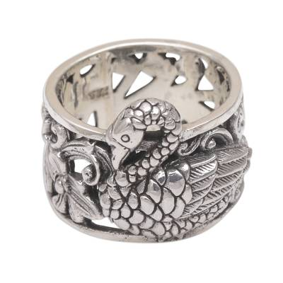 Sterling silver cocktail ring, 'Swan River' - Artisan Crafted 925 Sterling Silver Swan Cocktail Ring
