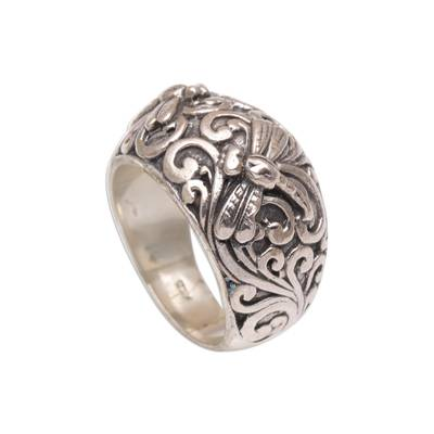 Sterling silver domed ring, 'Vine Palace' - Handmade 925 Sterling Silver Dragonfly Motif Cocktail Ring