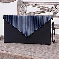 Cotton wristlet, 'Lurik Amplop Black' - Blue and Black Cotton Wristlet Clutch with Interior Pocket