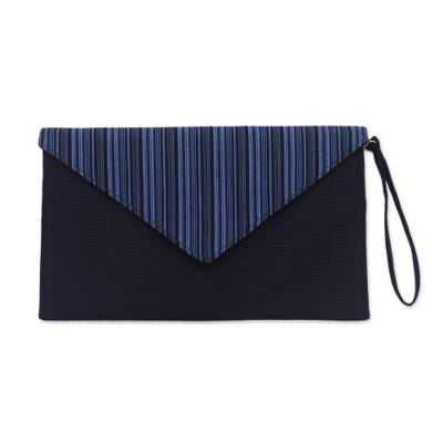 Blue and Black Cotton Wristlet Clutch with Interior Pocket