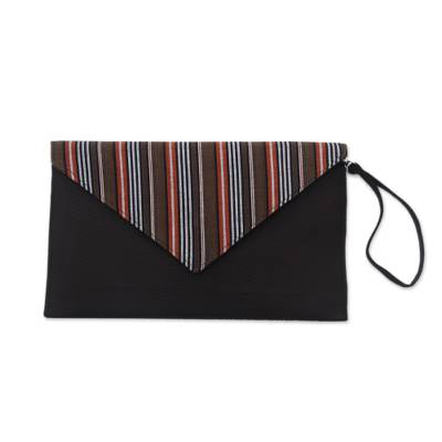 Brown and Orange Cotton Wristlet Clutch with Interior Pocket