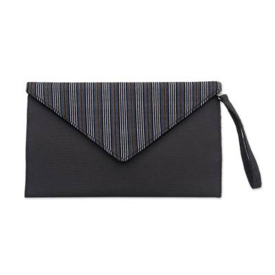 Grey and Black Cotton Wristlet Clutch with Interior Pocket