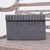Cotton tablet sleeve, 'Lurik Simplicity Grey' - Grey and Black Cotton Tablet Sleeve with an Interior Pocket