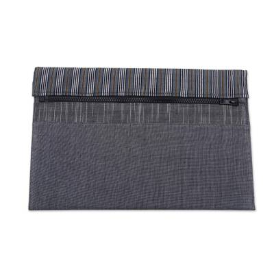 Grey and Black Cotton Tablet Sleeve with an Interior Pocket