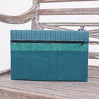 Cotton tablet sleeve, 'Lurik Guardian Teal' - 100% Cotton Teal Green Striped Tablet Sleeve from Indonesia