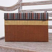 Cotton tablet sleeve, 'Lurik Guardian Brown' - 100% Cotton Brown Striped Tablet Sleeve from Indonesia