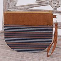 Cotton clutch wristlet, 'Lurik Sphere Brown' - 100% Cotton Striped Brown Clutch Exterior Pocket Wristlet