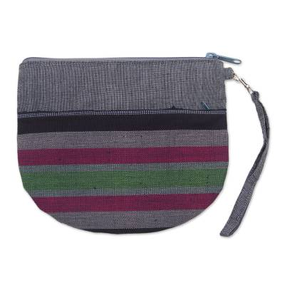 100% Cotton Striped Gray Clutch Exterior Pocket Wristlet