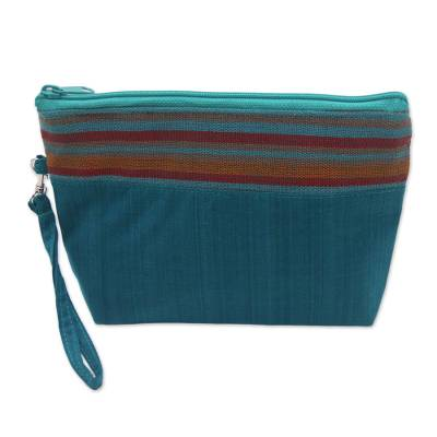 100% Cotton Striped Teal Clutch Interior Pocket Wristlet