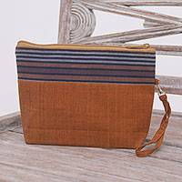 Cotton clutch wristlet, 'Lurik Parade Brown' - 100% Cotton Striped Brown Clutch Interior Pocket Wristlet