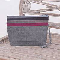 Cotton clutch wristlet, 'Lurik Parade Grey' - 100% Cotton Striped Grey Clutch Interior Pocket Wristlet