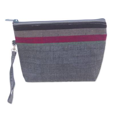 100% Cotton Striped Grey Clutch Interior Pocket Wristlet