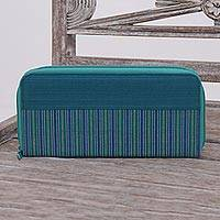 Cotton wallet, 'Humble Lurik Teal' - Hand Woven Teal Striped Cotton Wallet with Zipper Closure