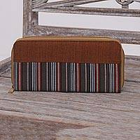Cotton wallet, 'Humble Lurik Brown' - Hand Woven Brown Striped Cotton Wallet with Zipper Closure
