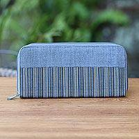 Cotton wallet, 'Humble Lurik Grey' - Hand Woven Grey Striped Cotton Wallet with Zipper Closure