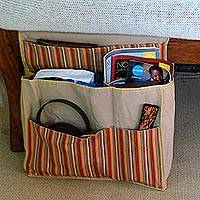 Cotton bedside organizer, 'Lurik Dreams Khaki' - Java Handwoven Khaki Striped Cotton Bedside Organizer Bag