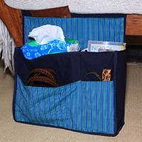 Cotton organizer bag, 'Lurik Dreams Navy' - Hand Woven Navy Striped Cotton Organizer Bag with Pockets