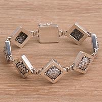 Sterling silver link bracelet, 'Weaving Ketupats' - 925 Sterling Silver Basket Weave Square Link Bracelet