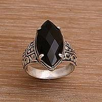 Onyx cocktail ring, 'Enchanting Midnight' - Onyx and Sterling Silver Cocktail Ring Handmade in Bali