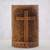Wood statuette, 'Fern Cross' - Suar Wood Hand Carved Cross with Floral Background (image 2) thumbail
