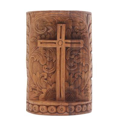 Wood statuette, 'Fern Cross' - Suar Wood Hand Carved Cross with Floral Background