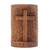 Wood statuette, 'Fern Cross' - Suar Wood Hand Carved Cross with Floral Background thumbail