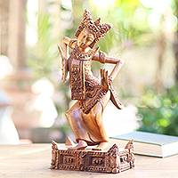 Wood statuette, 'Dancing the Legong Kraton' - Legong Kraton Hand Carved Suar Wood Statuette