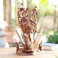 Wood statuette, 'Sarasvati Goddess' - Sarasvati Hindu Goddess Hand Carved Suar Wood Statuette