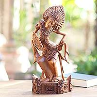 Wood statuette, 'Janger Beauty' - Suar Wood Hand Carved Janger Dancer Statuette