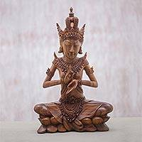 Wood statuette, 'Meditating Indra' - Suar Wood Hand Carved Indra Meditating Statuette