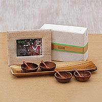 Teakwood condiment serving set, 'Kiva Perfect Party Gift Set' (10 pieces) - Bali handcrafted photo frame and condiment bowls gift set