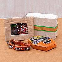 Teakwood kalimba and tambourine, 'Kiva Musical Gift Set' (3 pieces)
