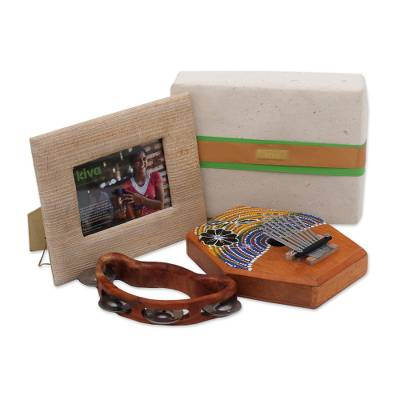 Teakwood kalimba and tambourine, 'Kiva Musical Gift Set' (3 pieces) - Balinese Artisan Crafted Musical Instruments Set from Kiva