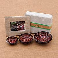 Wood batik bowls and photo frame, 'South Sea Holiday Host Gift Set' (4 pieces) - Bali and Java handcrafted gift set for the holiday host