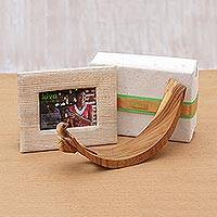 Wood wine bottle holder and photo frame gift set, 'Kiva Oenophile Holiday Host Gift Set' (2 pieces)