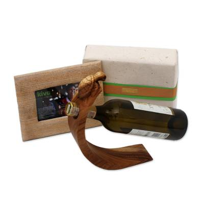 Wood wine bottle holder and photo frame gift set, 'Kiva Oenophile Holiday Host Gift Set' (2 pieces) - Bali Handcrafted Signed Bottle Holder and Photo Frame Set