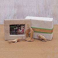 Wood ornaments and photo frame, 'Dolphins Kiva Holiday Host Gift Set' (4 pieces)