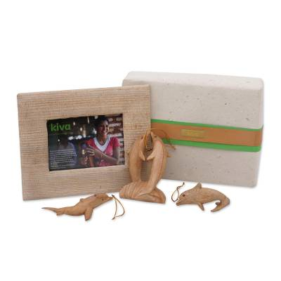 Wood ornaments and photo frame, 'Dolphins Kiva Holiday Host Gift Set' (4 pieces) - Dolphin ornaments holiday host gift set from Kiva