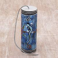 Percussion instrument, 'Gecko Echo in Blue' - Blue Gecko Themed Percussion Instrument Handmade in Bali