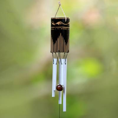 Bamboo and aluminum wind chimes, 'Singing Vines' - Bamboo and Aluminum Wind Chime Hand Made in Bali