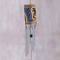 Bamboo wind chimes, 'Papua Gecko' - Hand-Painted Gecko-Themed Bamboo Wind Chimes from Bali