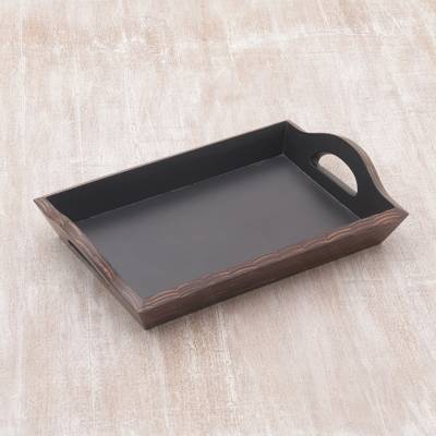 785dd8d2db28 Coconut shell tray, 'Tropical Service' - Handcrafted Coconut Shell and Wood  Tray from