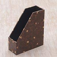 Coconut shell file holder, 'Natural Organizer' - Handcrafted Coconut Shell File Holder from Indonesia
