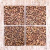 Coconut shell wall panels, 'Splendorous Accent' (set of 4) - Coconut Shell and MDF Set of Four Wall Accents of Indonesia