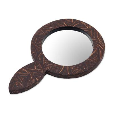 Coconut Shell and MDF Hand Mirror of Indonesia